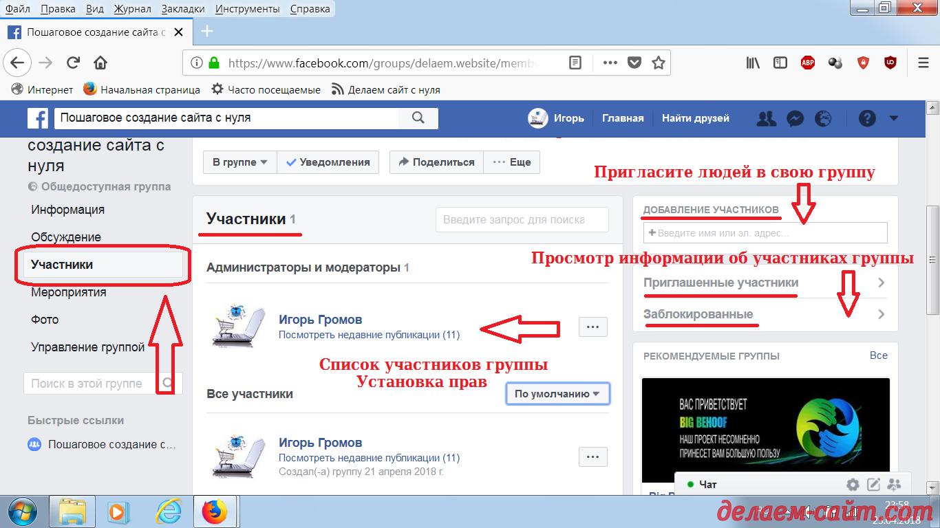 Управление группой сделанной в Фейсбуке вкладка участники