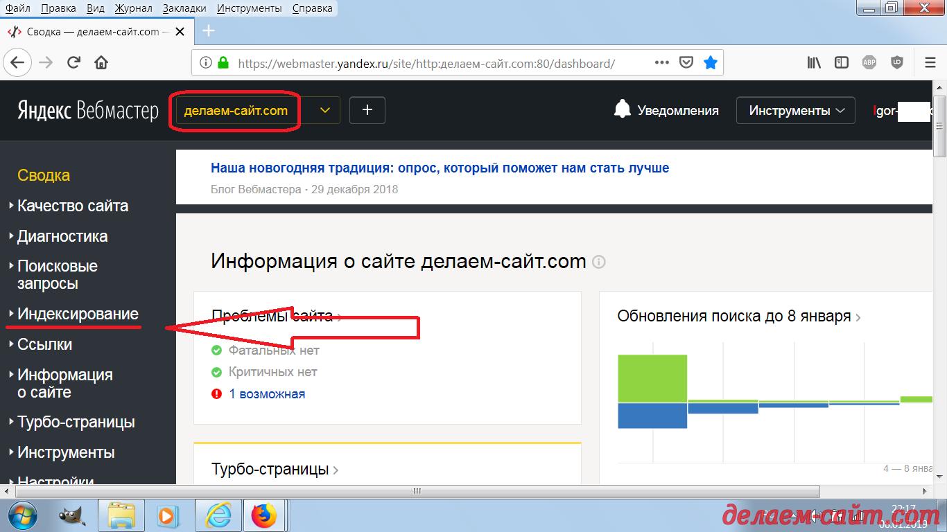 Индексирование сайта с помощью счётчика Метрики