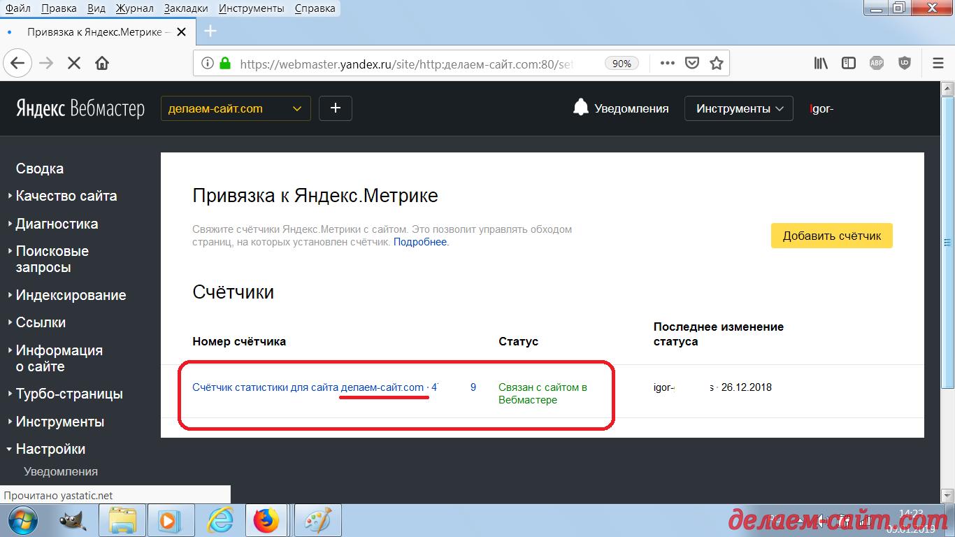 Счётчик статистики связан с сайтом в Вебмастере