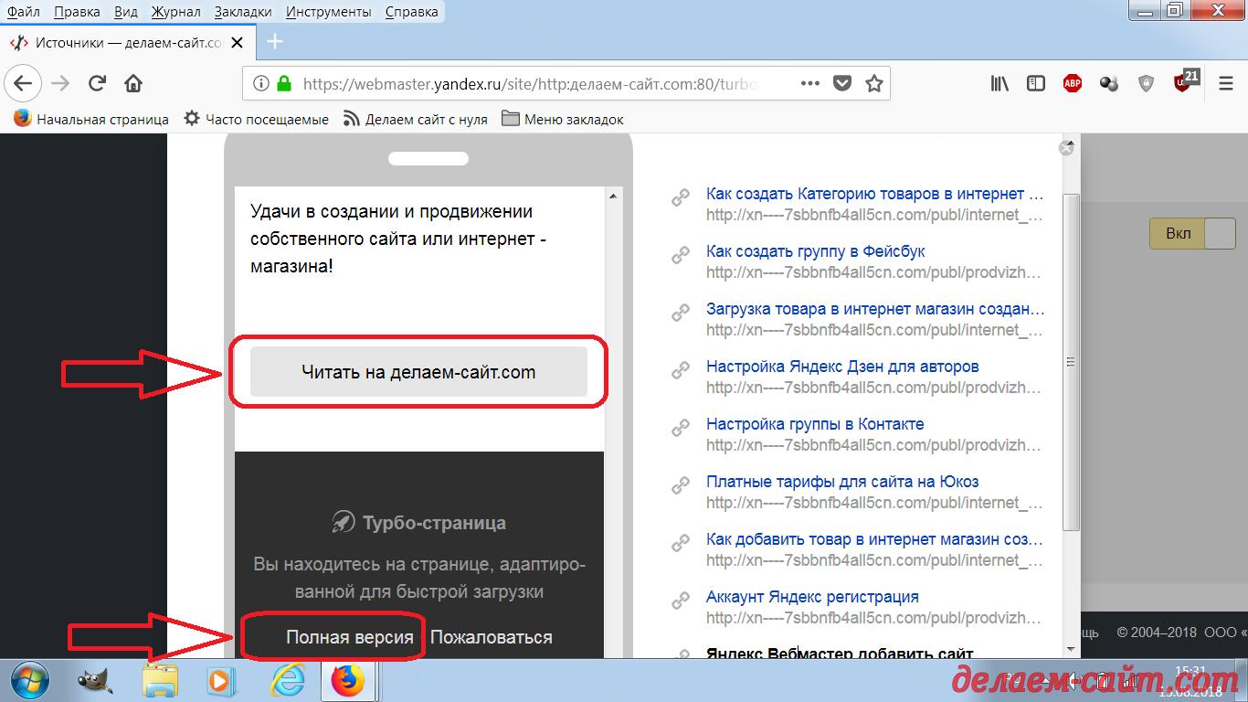 Примеры настроенных турбо страниц в Яндекс Вебмастере