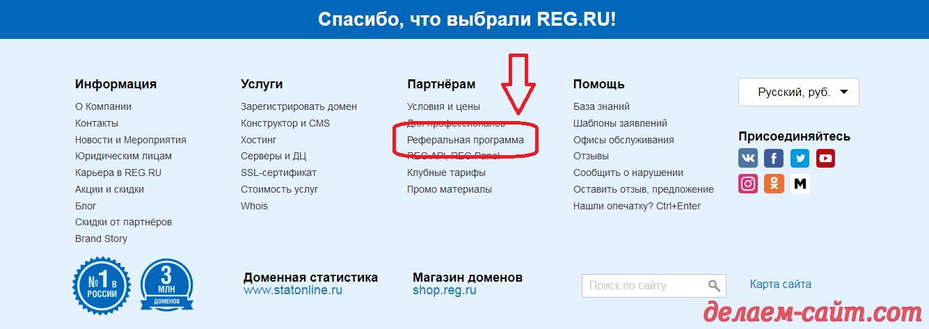 Реферальная программа партнёрки REG RU