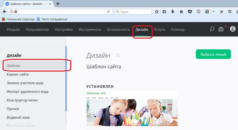Смена имени сайта через панель управления
